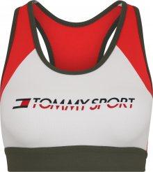 Tommy Sport Sportovní podprsenka \'BLOCKED BRA MID CO/E\' tmavě zelená / ohnivá červená / bílá