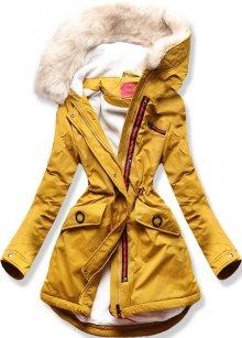MODOVO Dámska zimní bunda s kapucňou Q35 žlutá