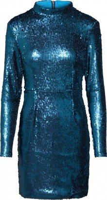 Missguided Koktejlové šaty \'Long Sleeved Sequin Bodycon\' modrá / zelená