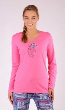 Dámské pyžamo dlouhé Vienetta Secret Mazlíček | tmavě růžová | S