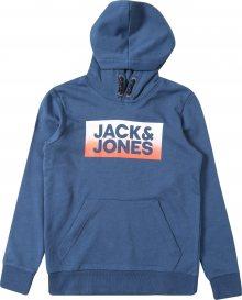 Jack & Jones Junior Mikina \'JORTOWN\' kouřově modrá / oranžová / bílá