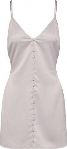 Missguided Letní šaty \'Satin Button Detail Strappy\' stříbrná