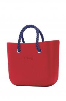 O bag kabelka MINI Ciliegia s tmavě modrými krátkými provazy