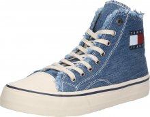 Tommy Jeans Kotníkové tenisky \'HIGHTOP TOMMY JEANS SNEAKER\' modrá džínovina / bílá