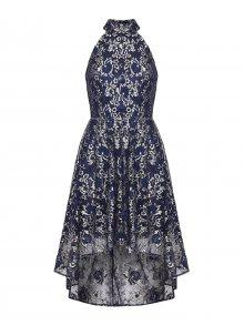 Mela London Šaty \'GOLD TRIM LACE HIGH LOW DRESS\' námořnická modř