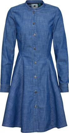 G-Star RAW Košilové šaty \'Bristum slim flare fringe dress ls\' modrá