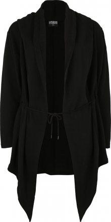 Urban Classics Curvy Mikina s kapucí \'Ladies Hooded Sweat Cardigan\' černá