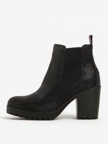 Černé dámské kožené chelsea boty na vysokém podpatku Tommy Hilfiger Boo