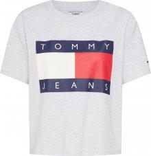Tommy Jeans Tričko \'TJW TOMMY FLAG TEE\' světle šedá