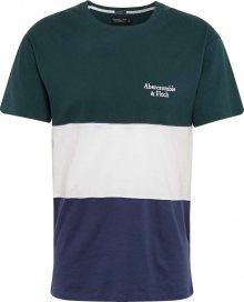 Abercrombie & Fitch Tričko marine modrá / smaragdová / bílá