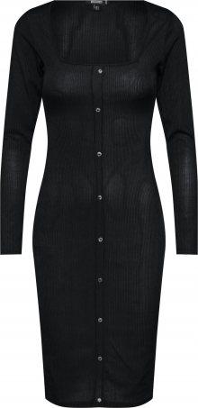 Missguided Šaty \'Slinky Ribbed Long Sleeved Button Front Midi Dress\' černá