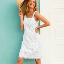 Blancheporte Šaty s anglickou výšivkou a podšívkou bílá 44