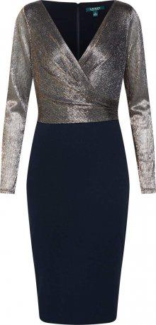 Lauren Ralph Lauren Koktejlové šaty \'ALEXIE-LONG SLEEVE-COCKTAIL DRESS\' zlatá / černá