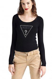 Guess černý dámský svetr Printed Triangle Logo - XS