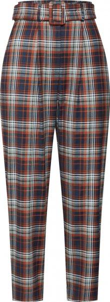 EDITED Kalhoty se sklady v pase \'Justine\' modrá / rezavě hnědá
