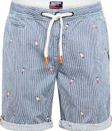 Superdry Kalhoty modrá / bílá