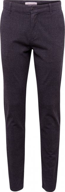 SELECTED HOMME Kalhoty s puky \'SLHSLIM-ARVAL DARK CHECK PANTS W\' černá