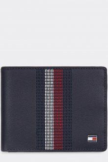 Tommy Hilfiger modrá pánská kožená peněženka Stitched Leather Mini CC Wallet Sky Captain