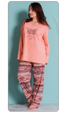 Dámské pyžamo dlouhé Velký motýl meruňková 2XL