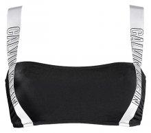 Calvin Klein černý horní díl plavek se stříbrnou gumou Strap Bandeau-RP - XS