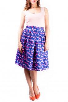 Simpo barevná sukně ke kolenům Blue Flamingo - S/M