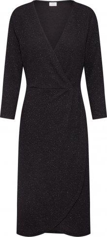 JACQUELINE De YONG Koktejlové šaty \'JDYCAROL 3/4 GLITTER WRAP DRESS EXP\' černá