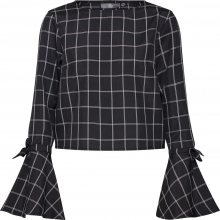 Missguided Tričko \'Check Flared Tie Cuff Co Ord Top\' černá