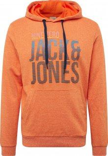JACK & JONES Mikina modrá / žlutá / tmavě oranžová