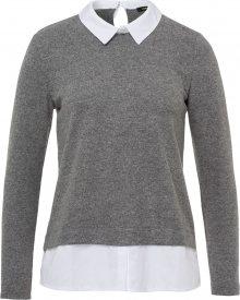 MORE & MORE Tričko šedý melír / bílá