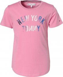 TOMMY HILFIGER Tričko \'NYC GLITTER FOIL PRI\' noční modrá / růžová / bílá