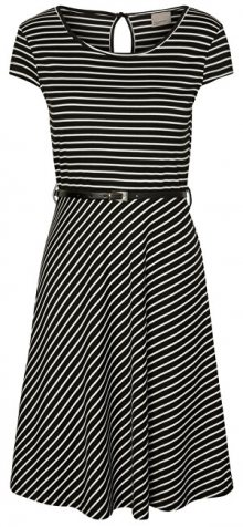 Vero Moda Dámské šaty VMVIGGA FLAIR CAPSLEEVE DRESS Black Snow White XS