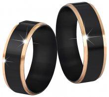 Troli Ocelový snubní prsten černý/zlatý 52 mm