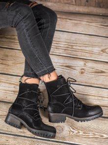 Módní dámské černé  kotníčkové boty na širokém podpatku 36