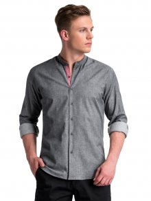 Ombre Clothing Pohodlná grafitová pánská košile k488