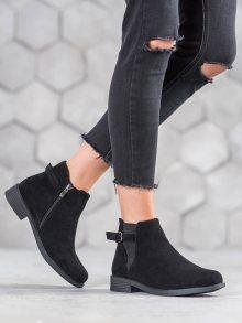 Stylové  kotníčkové boty dámské černé na plochém podpatku 37