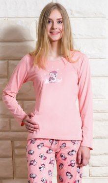 Dámské pyžamo dlouhé Tučňák na horách světle lososová S