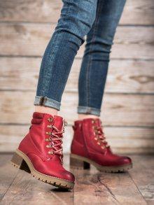 Jedinečné  kotníčkové boty červené dámské na širokém podpatku 37