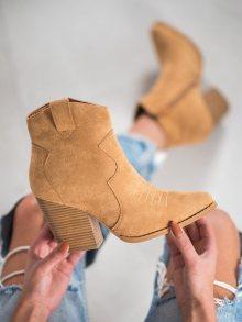 Stylové dámské hnědé  kotníčkové boty na širokém podpatku 36