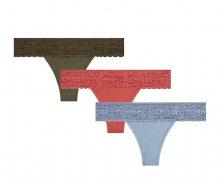 Tommy Hilfiger Sada dámských kalhotek 3P Thong UW0UW02036-084 Cardinal/Olive Night/Faded Denim S