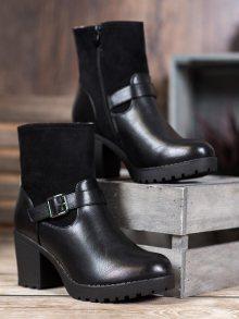 Trendy dámské černé  kotníčkové boty na širokém podpatku 36