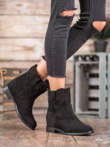 Originální černé  kotníčkové boty dámské na plochém podpatku 36