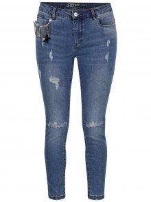Modré zkrácené džíny s potrhaným efektem a ozdobnou aplikací ONLY Carmen