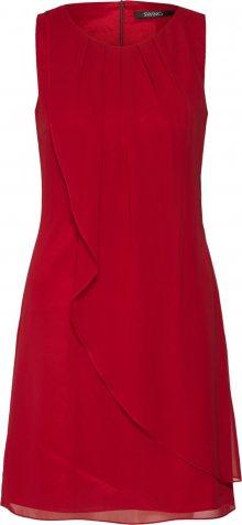 SWING Koktejlové šaty vínově červená