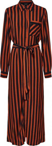 SELECTED FEMME Košilové šaty tmavě oranžová / černá