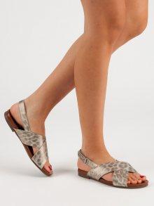 Trendy zlaté  sandály dámské bez podpatku 37