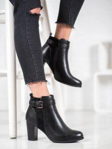 Originální  kotníčkové boty černé dámské na širokém podpatku 36