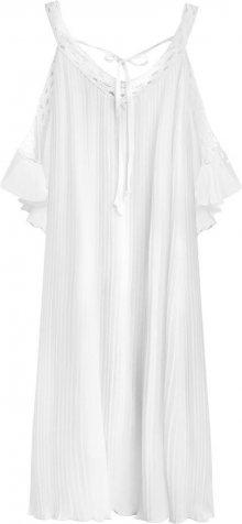 Bílé plisované šaty s vykrojenými rameny (342ART) bílá ONE SIZE