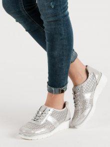 Trendy dámské  polobotky šedo-stříbrné bez podpatku 38