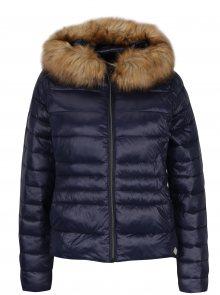 Tmavě modrá prošívaná bunda s umělým kožíškem VERO MODA Alberta