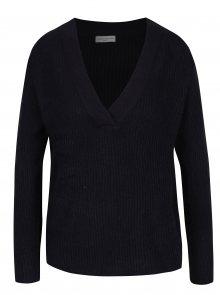 Tmavě modrý žebrovaný svetr s véčkovým výstřihem Jacqueline de Yong Gold